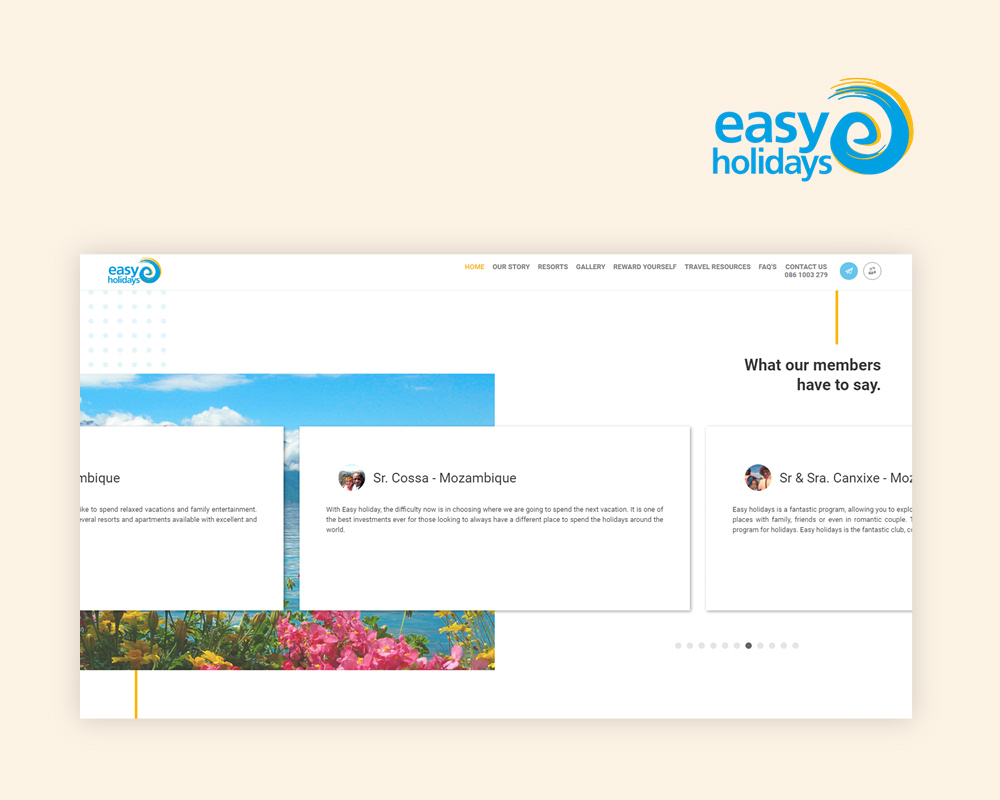 Picture of Easy Holiday's website screenshot