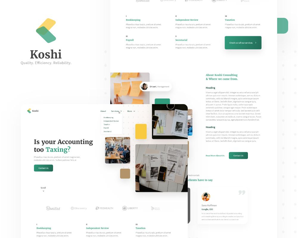 Picture Koshi Consulting website Storyboard